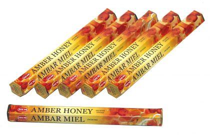 HEM Räucherstäbchen Sparset. 6 Packungen ca. 120 Sticks Amber Honey