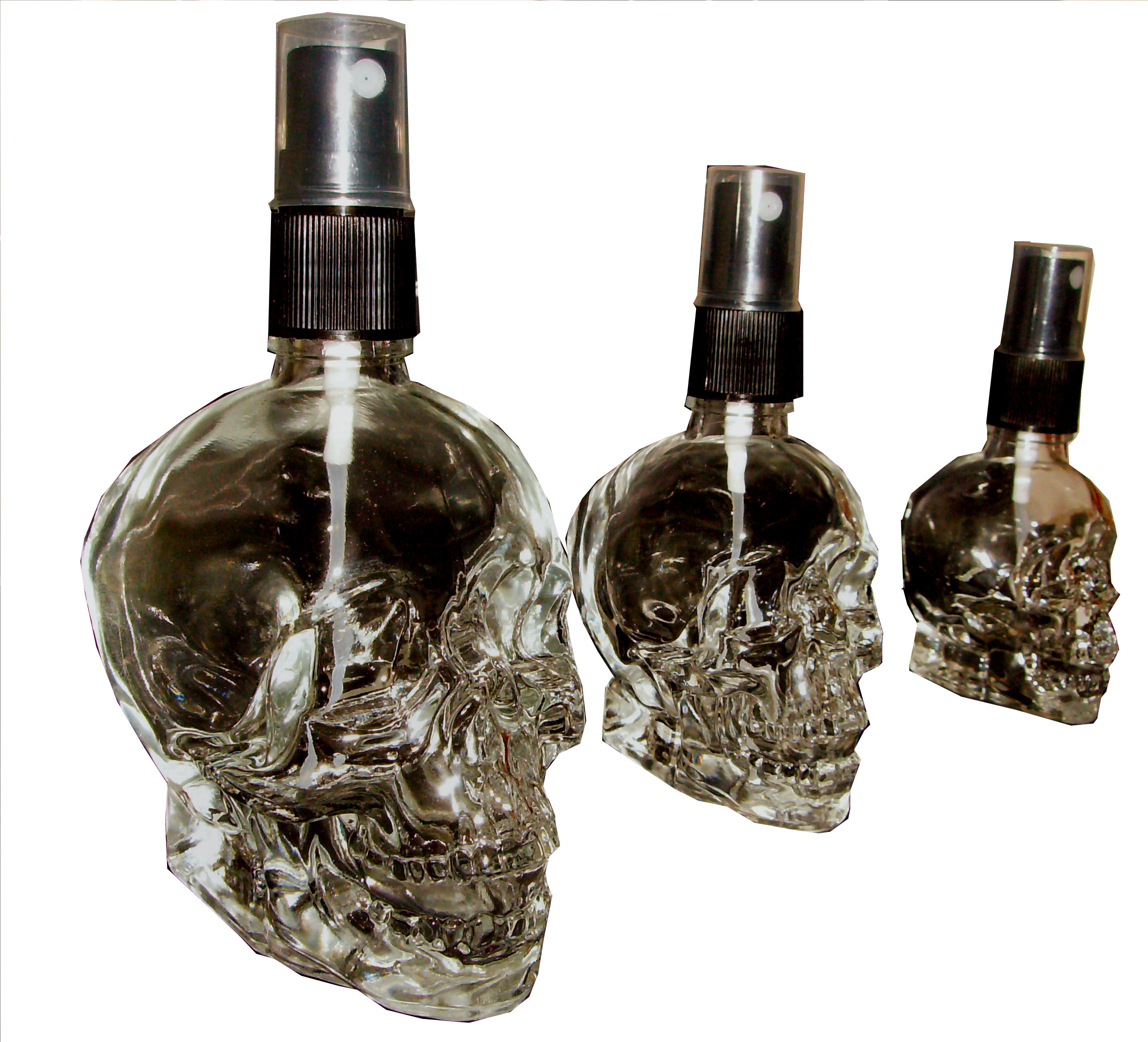 Set 3 Parfumflakons Skull Totenkopf mit Zerstäuber 120ml, 60ml u