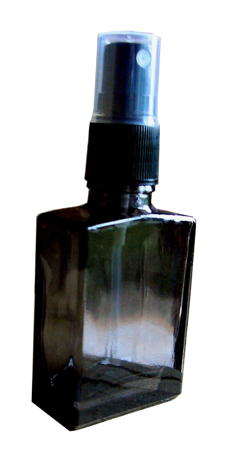 Parfumflakon aus Glas rechteckig mit Zerstäuber 30ml leer schwar