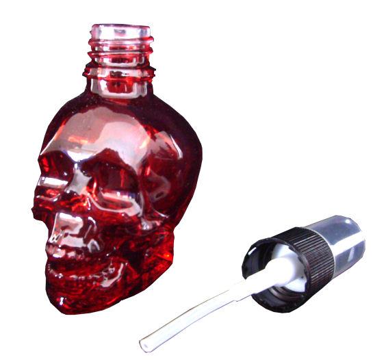 Parfumflakon Skull Totenkopf mit Zerstäuber rot 120ml leer Gothi