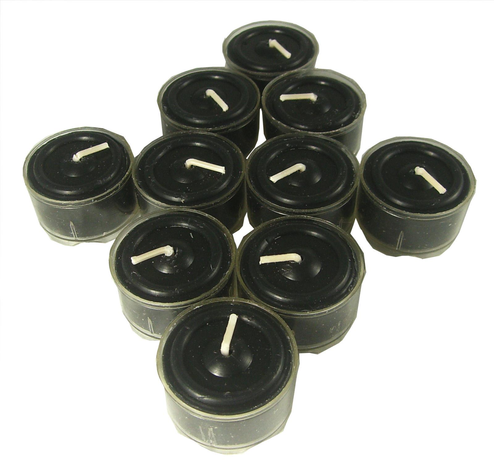 Schwarze Opium Duft Teelichte durchgefärbt Premium Kerzen 10 Stück Set