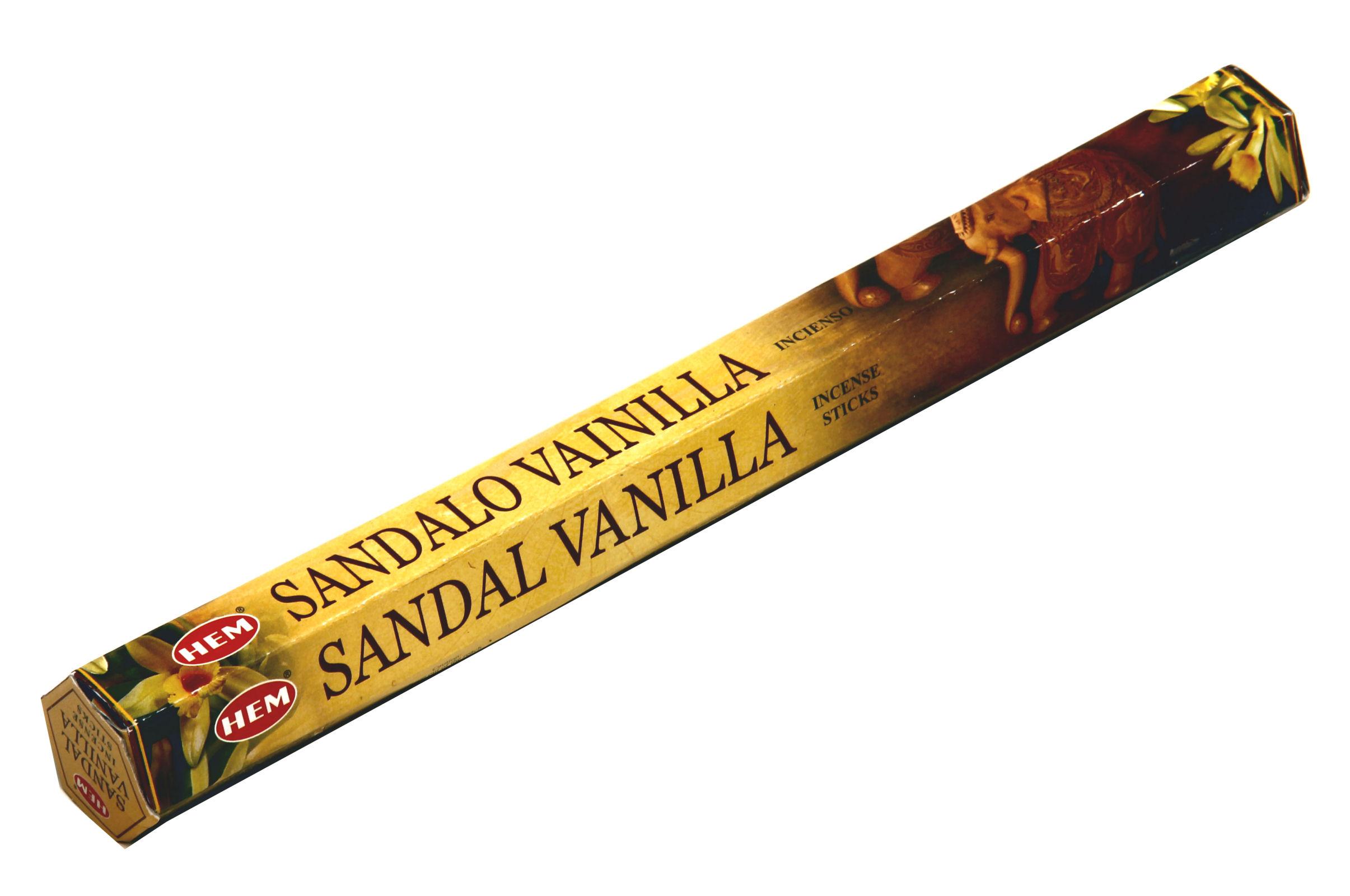 HEM Räucherstäbchen Sandelholz Vanille 20g Hexa Packung  Ca. 20 Incence Sticks