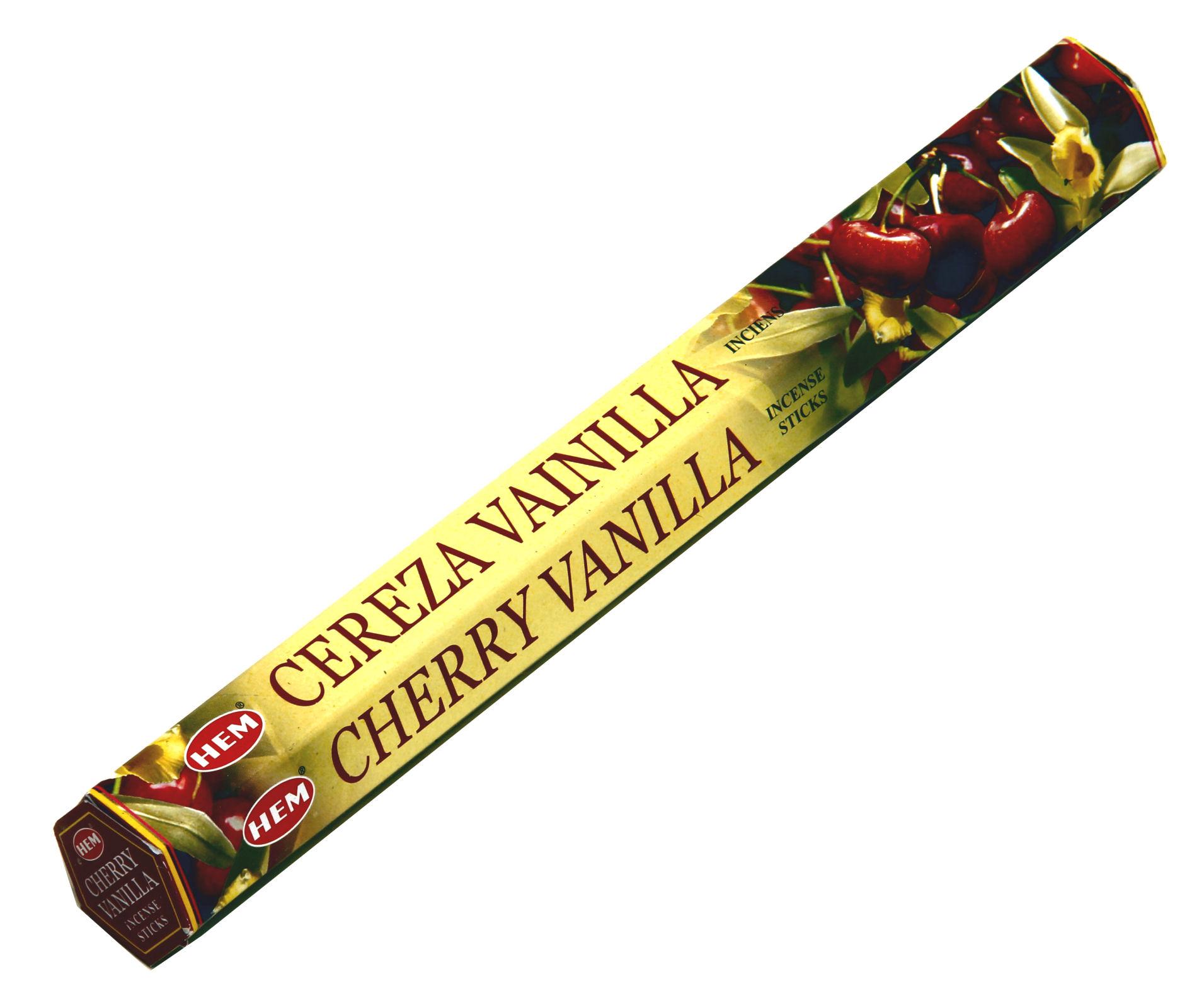 HEM Räucherstäbchen Cherry Vanilla 20g Hexa Packung  Ca. 20 Incence Sticks