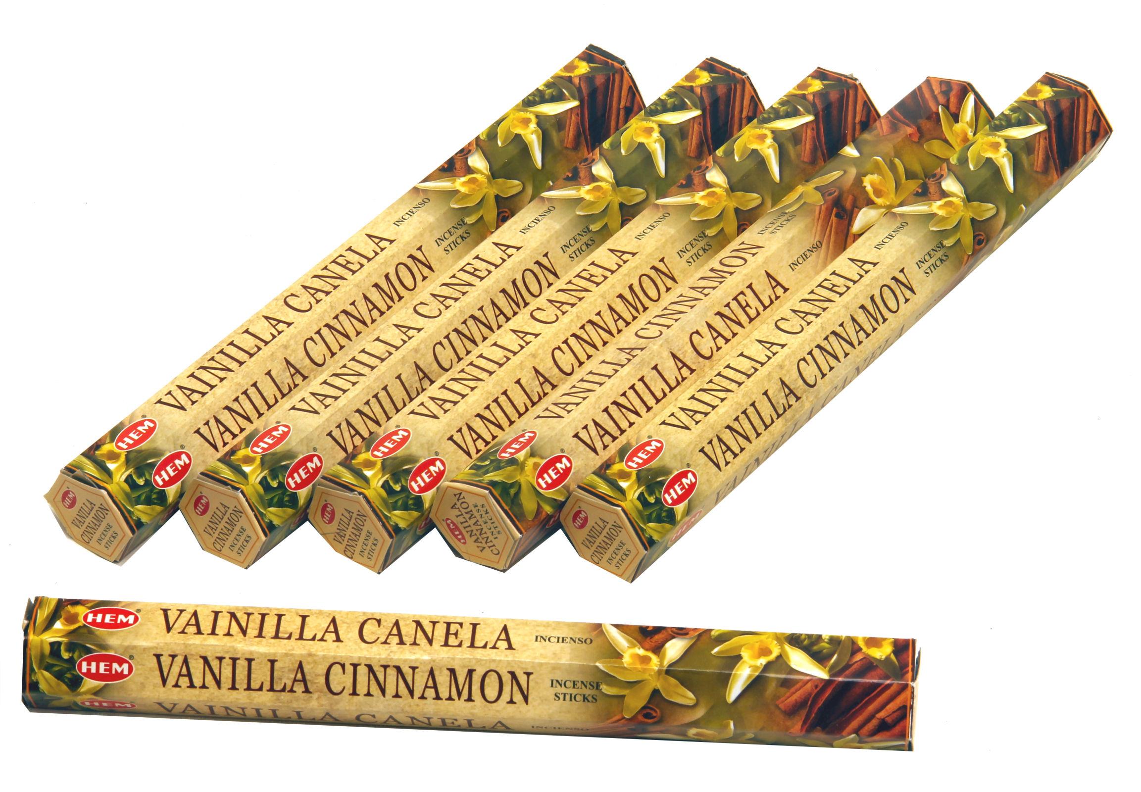 HEM Räucherstäbchen Sparset. 6 Packungen ca. 120 Sticks Vanilla Cinnamon