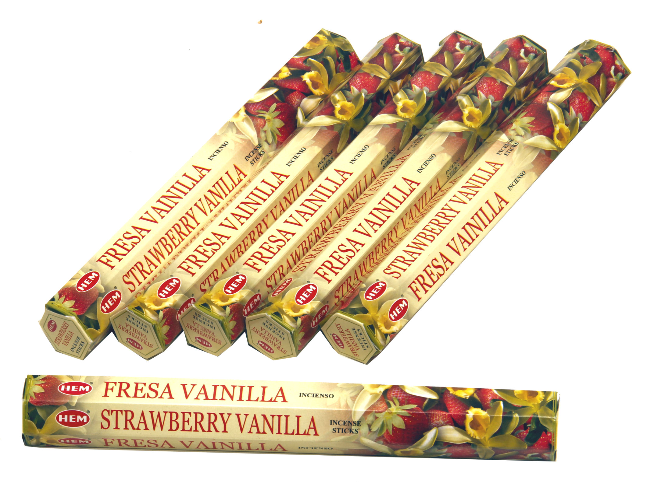 HEM Räucherstäbchen Sparset. 6 Packungen ca. 120 Sticks Strawberry Vanilla