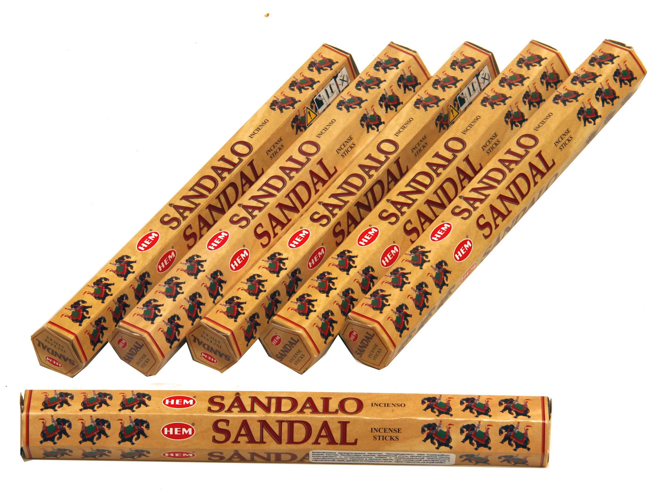 HEM Räucherstäbchen Sparset. 6 Packungen ca. 120 Sticks Sandelholz