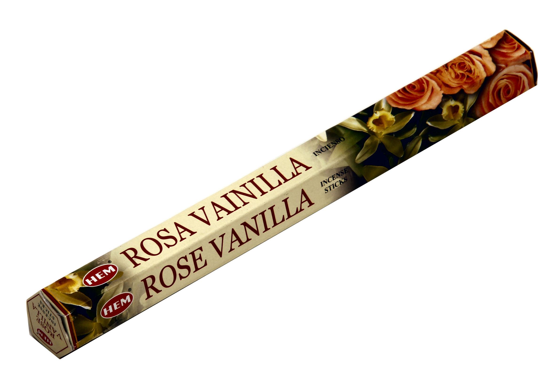 HEM Räucherstäbchen Sparset. 6 Packungen ca. 120 Sticks Rose Vanilla