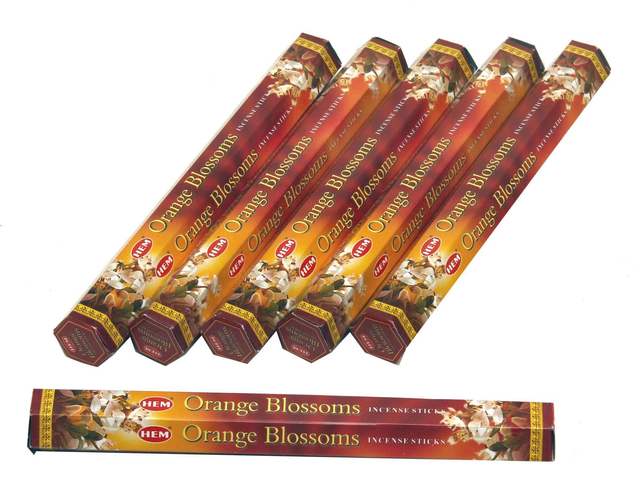 HEM Räucherstäbchen Sparset. 6 Packungen ca. 120 Sticks Orange Blossom