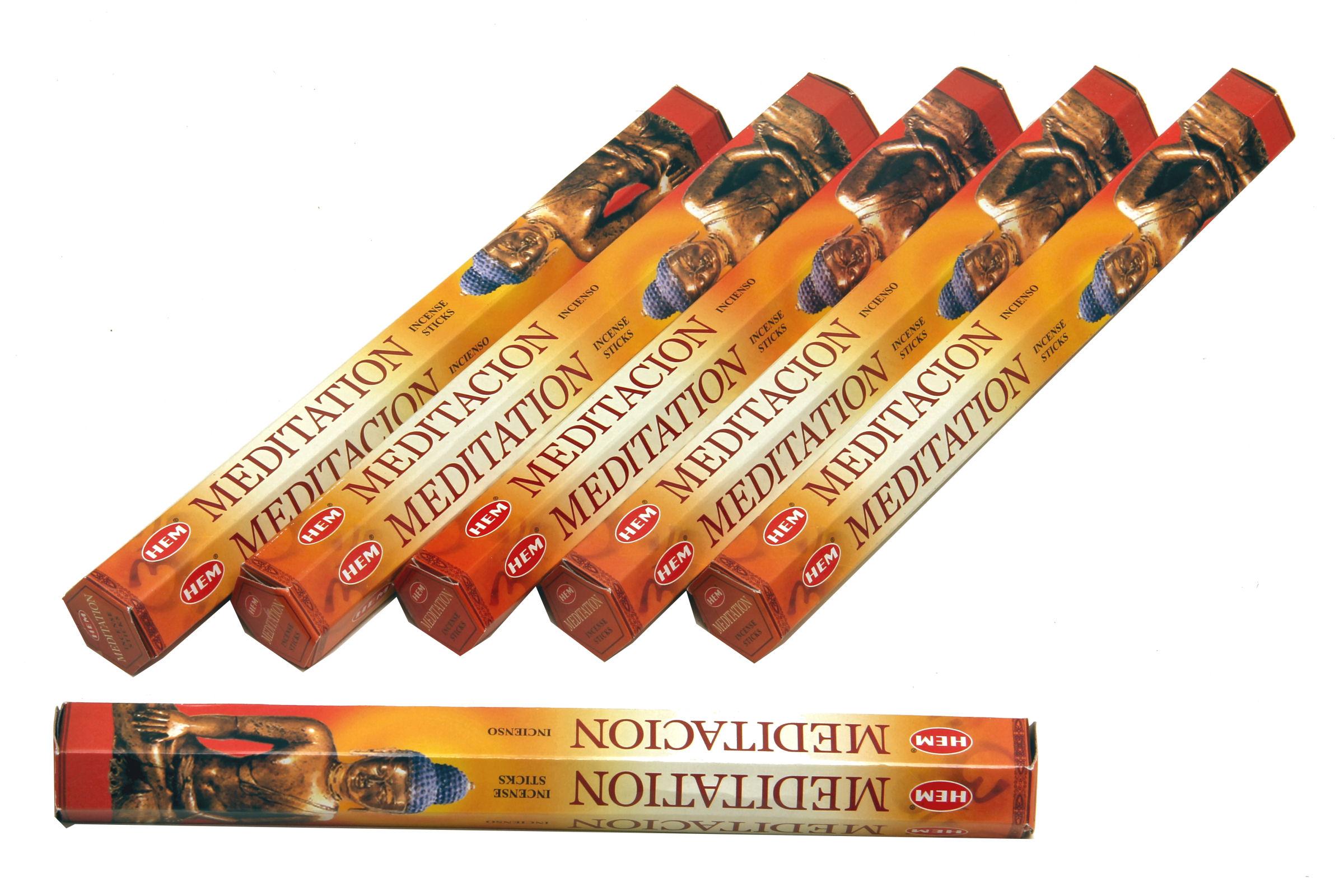 HEM Räucherstäbchen Sparset. 6 Packungen ca. 120 Sticks Meditation