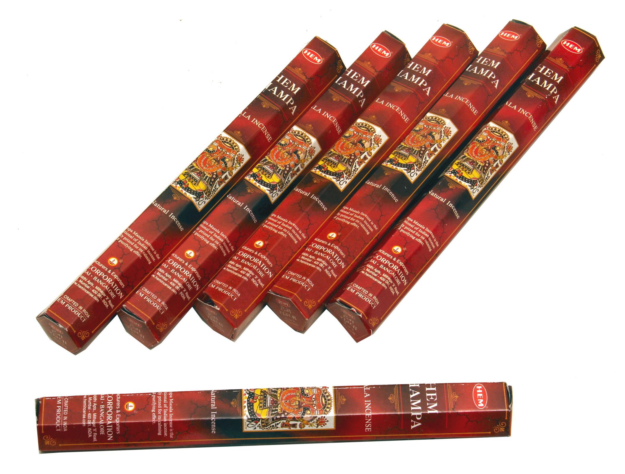 HEM Räucherstäbchen Sparset. 6 Packungen ca. 90 Sticks HEM Champa