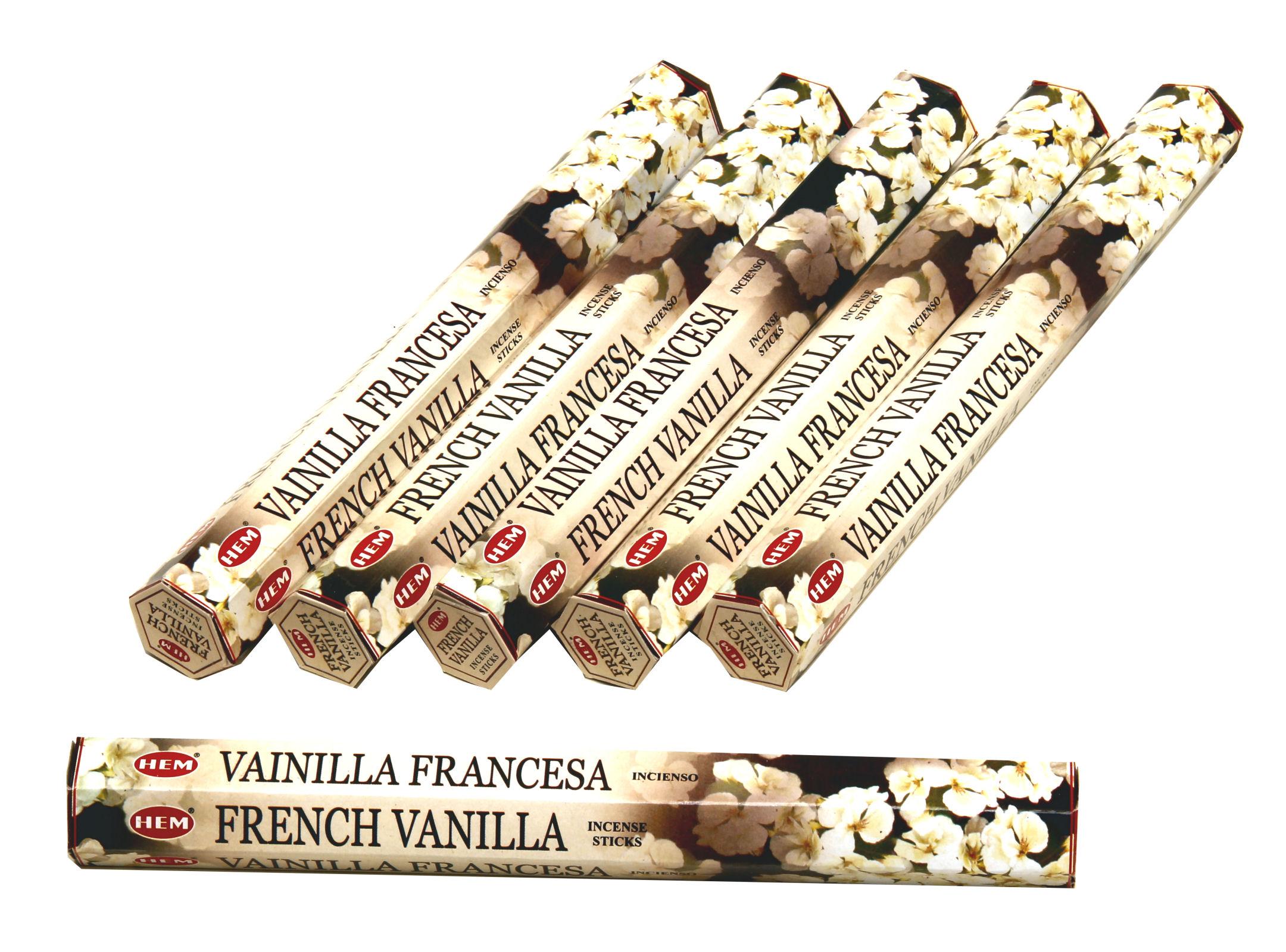HEM Räucherstäbchen Sparset. 6 Packungen ca. 120 Sticks French Vanilla