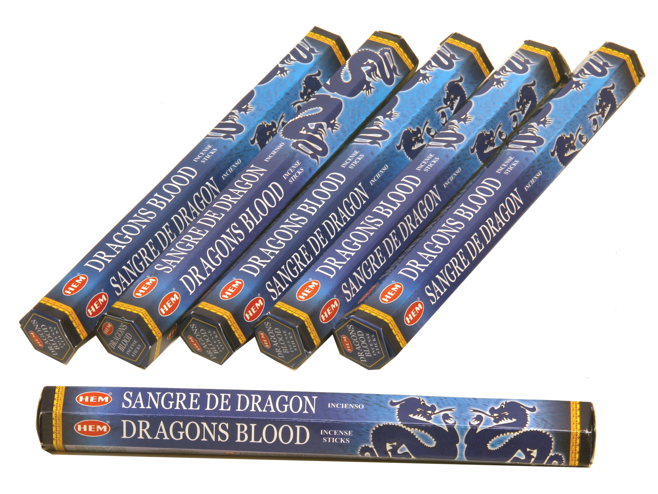 HEM Räucherstäbchen Sparset. 6 Packungen ca. 120 Sticks Dragons Blood Blue