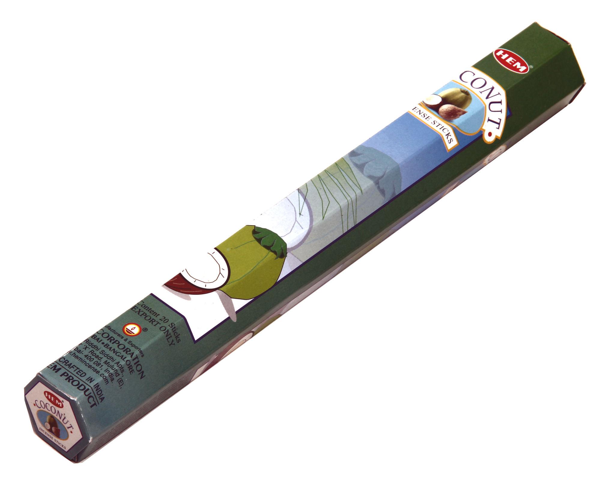 HEM Räucherstäbchen Sparset. 6 Packungen ca. 120 Sticks Coconut