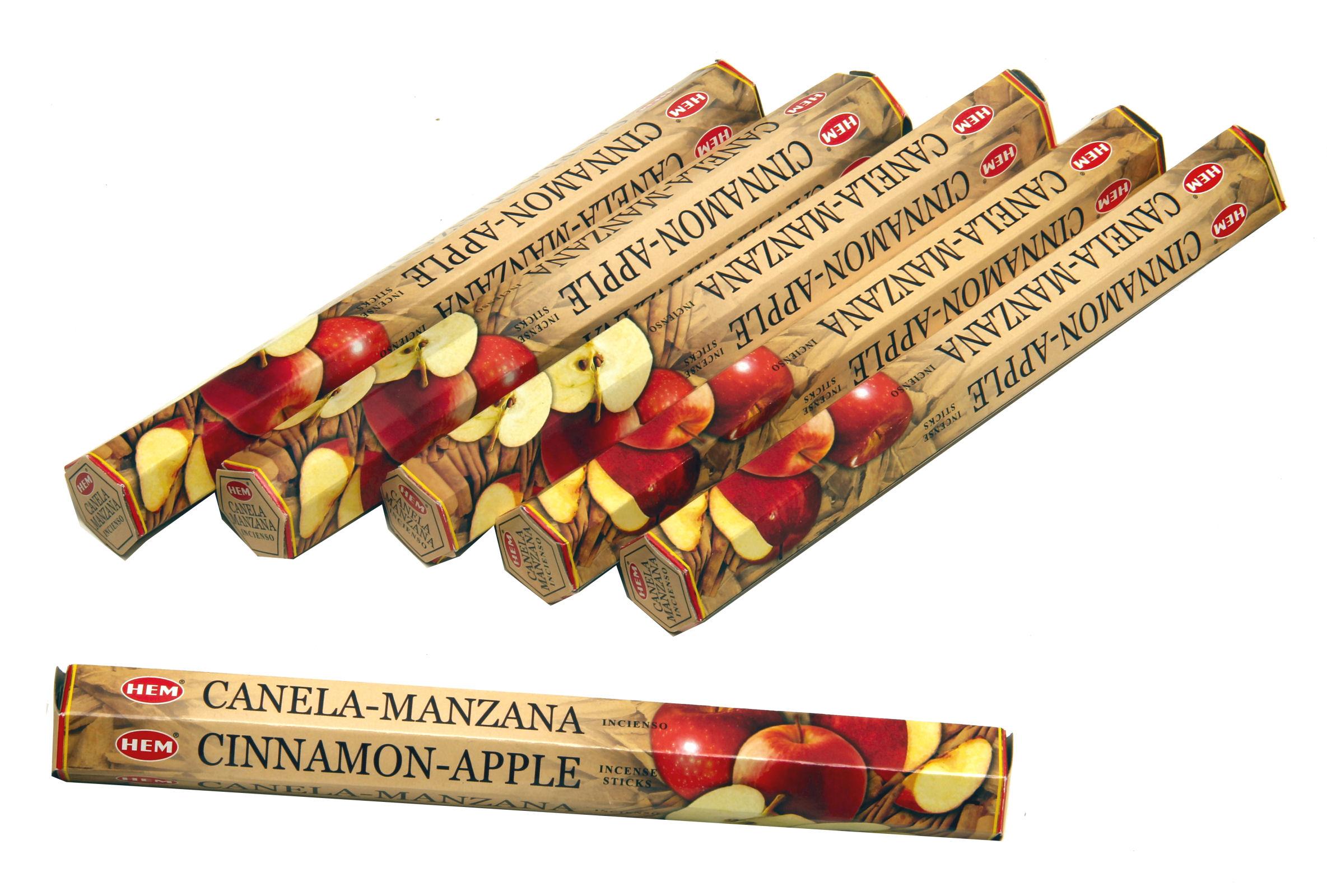 HEM Räucherstäbchen Sparset. 6 Packungen ca. 120 Sticks Cinnamon Apple