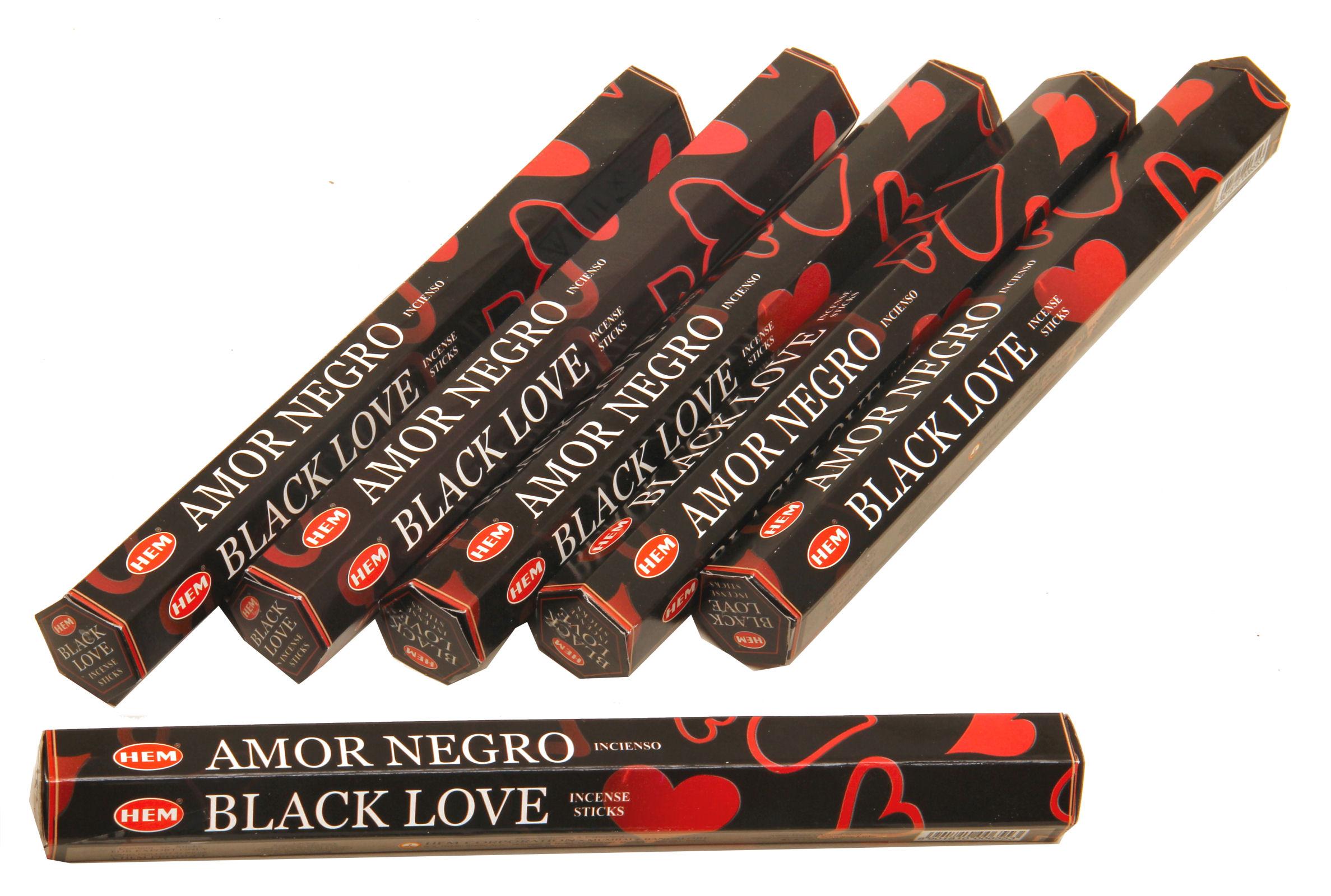 HEM Räucherstäbchen Sparset. 6 Packungen ca. 120 Sticks Black Love