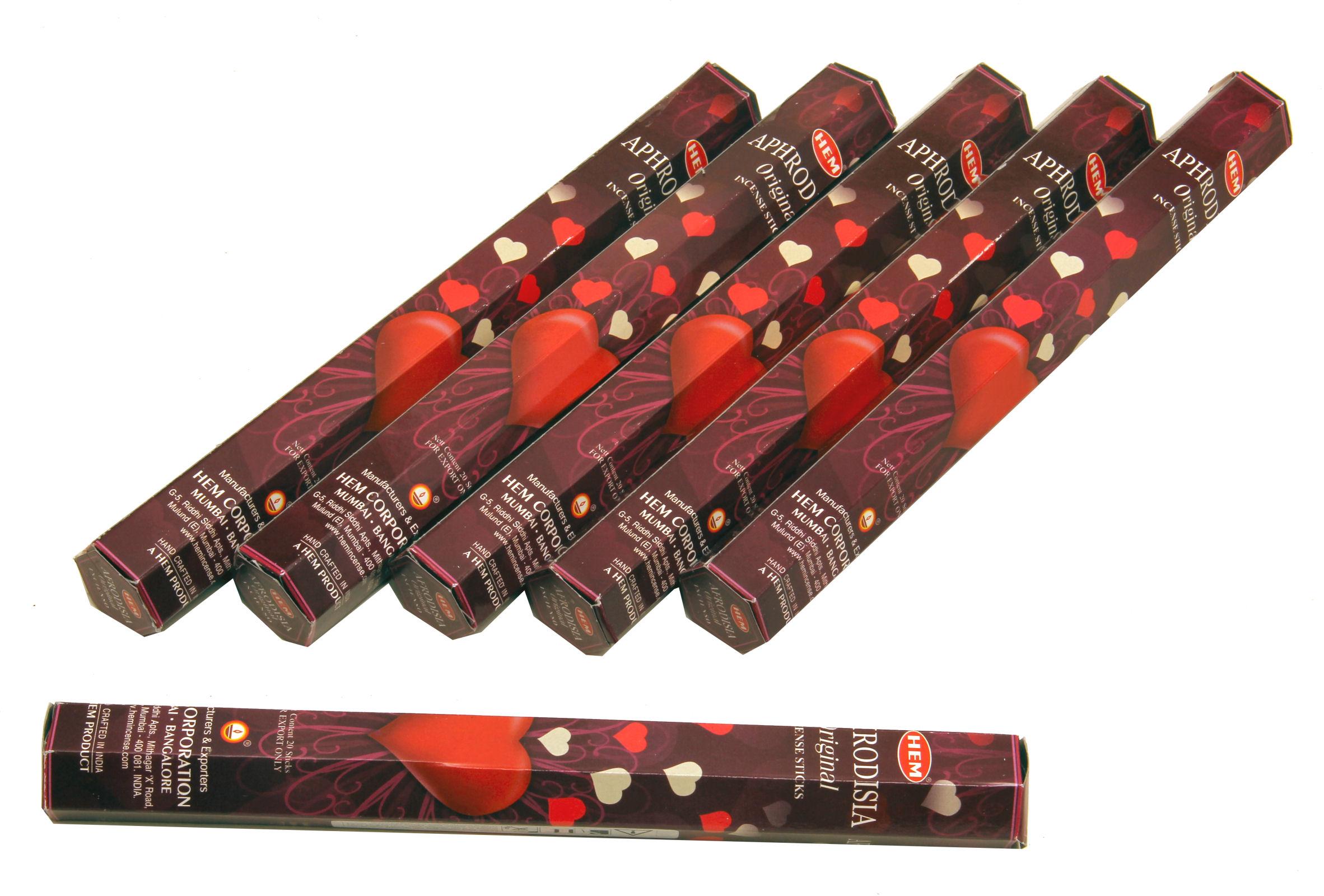 HEM Räucherstäbchen Sparset. 6 Packungen ca. 120 Sticks Aphrodisia