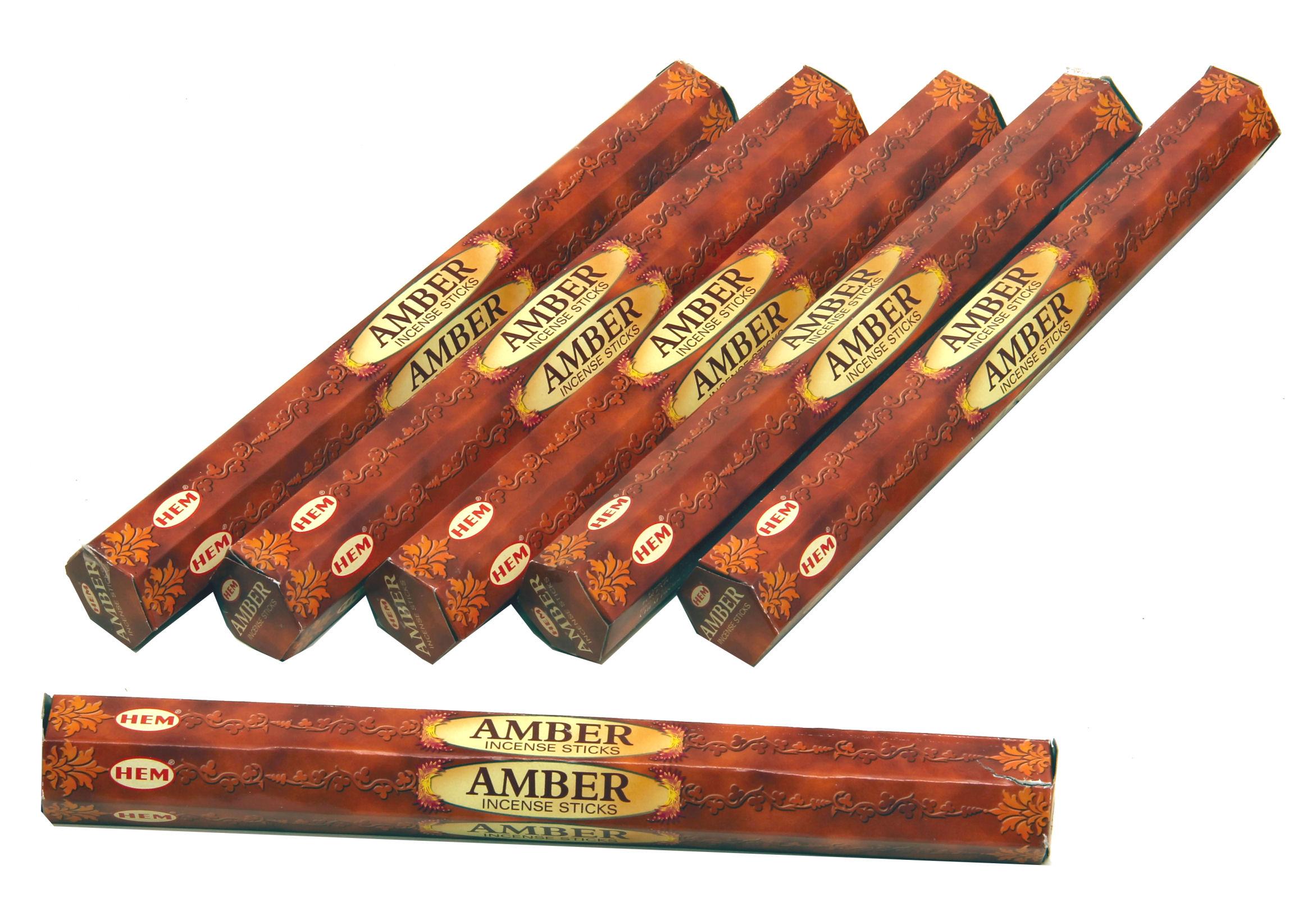 HEM Räucherstäbchen Sparset. 6 Packungen ca. 120 Sticks Amber