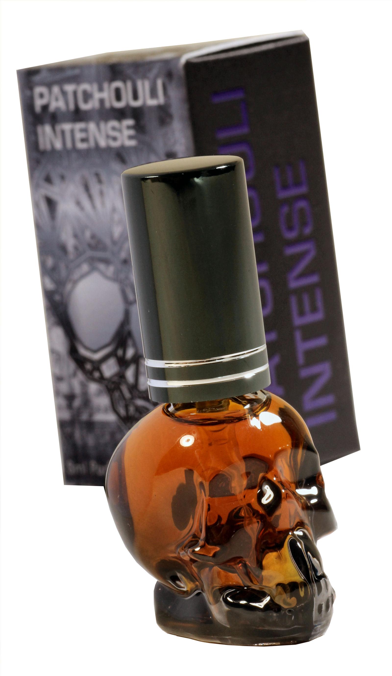 Unser stärkstes Patchouli! Patchouli Parfum Intense im süßen Skull - Mini-Flakon. Extrem stark, lang anhaltend