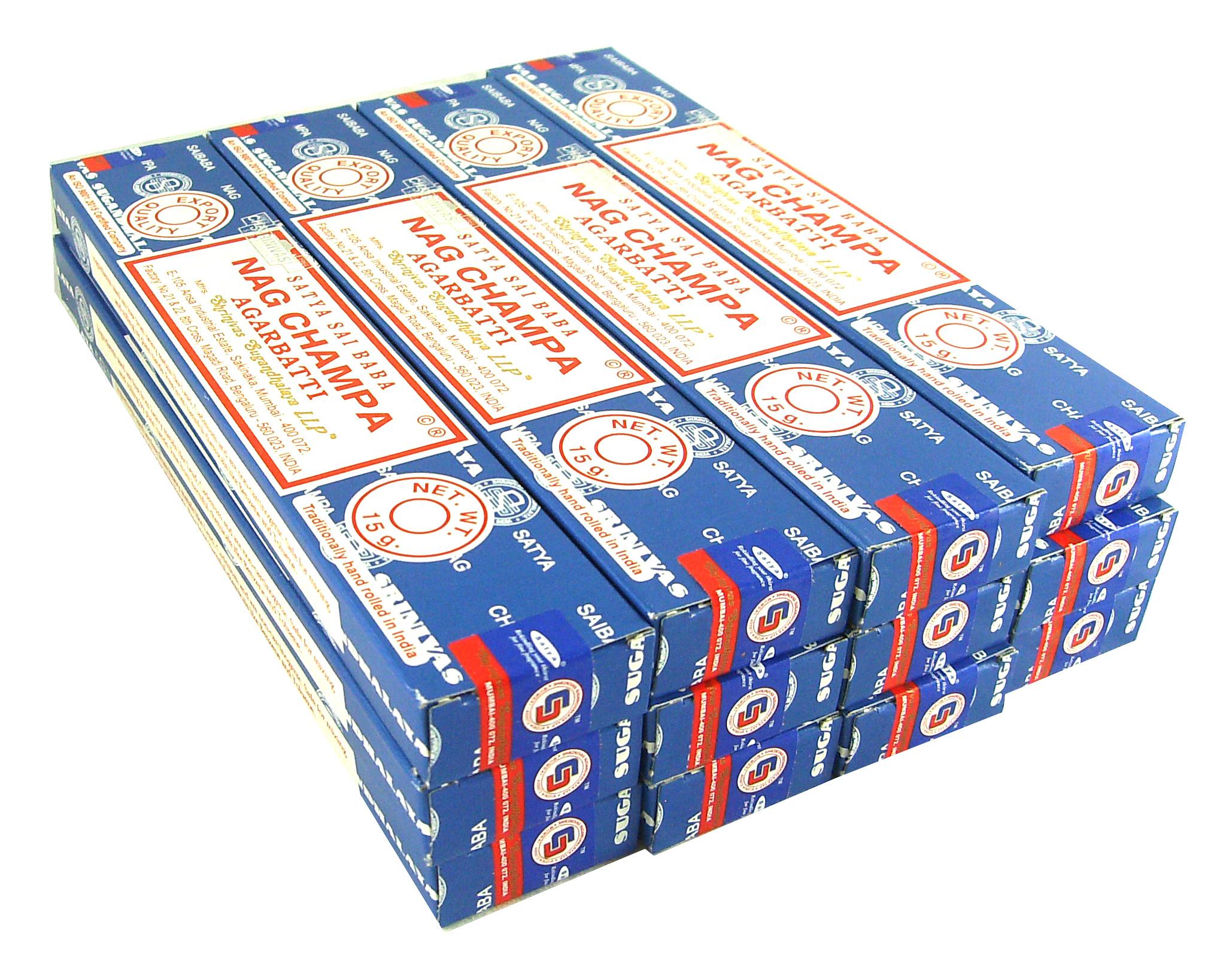 Nag Champa Sai Baba Agarbatti Räucherstäbchen blau Räucherwerk 12 Packs a 15g