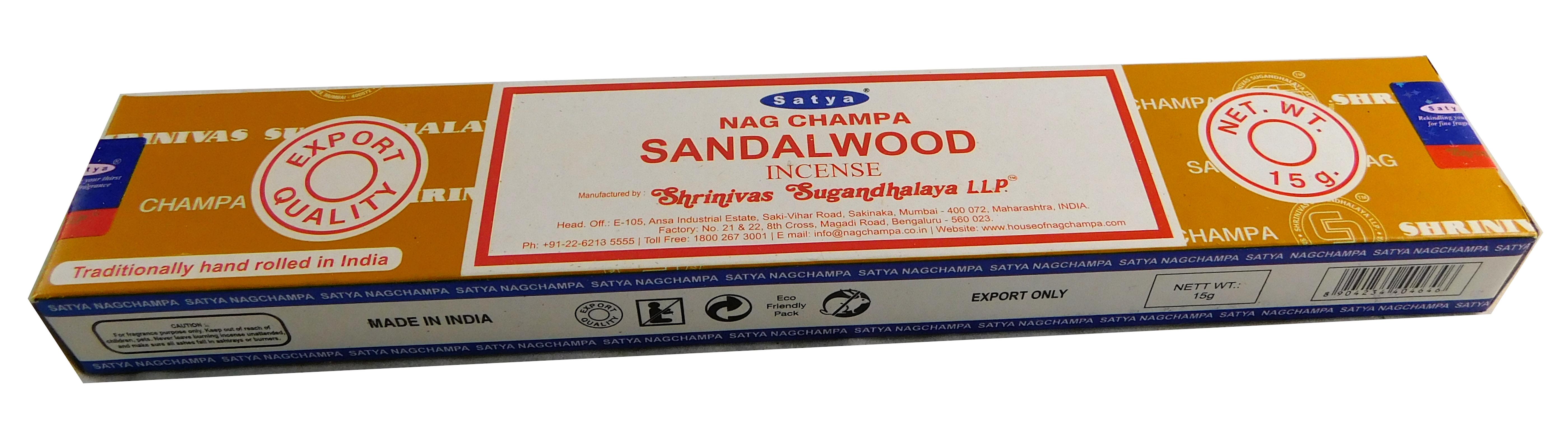 Räucherstäbchen Sandalwood von Satya 15g Packung. Ca. 15 Incence Sticks