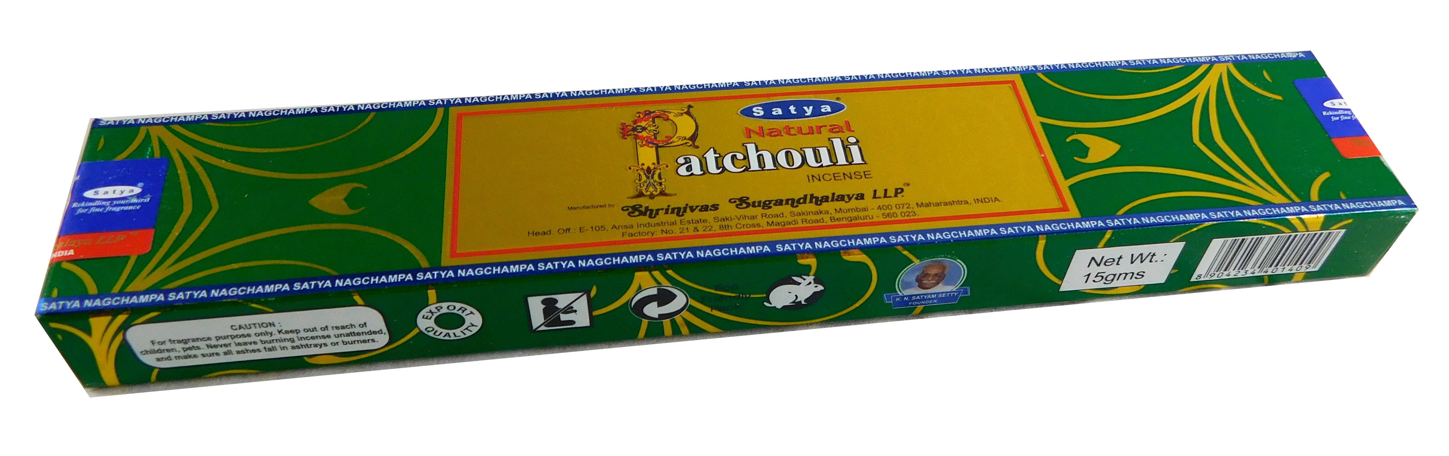 Räucherstäbchen Natural Patchouli von Satya 15g Packung. Ca. 15 Incence Sticks