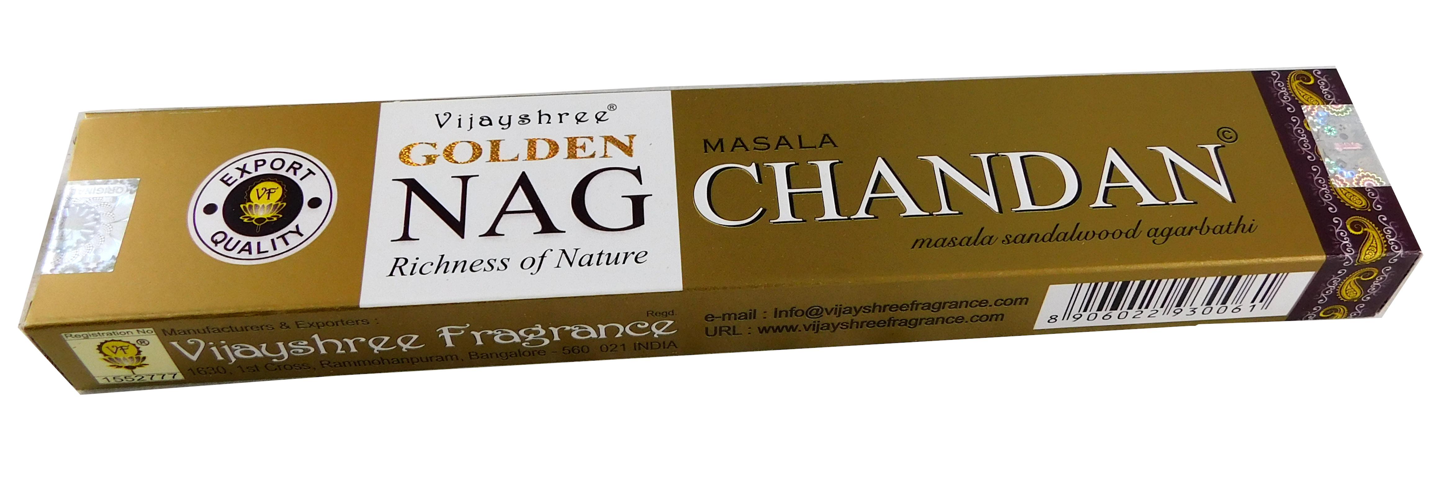 Räucherstäbchen Golden Nag Chandan (Sandelholz) von Vijayshree 15g Packung. Ca. 15 Incence Sticks