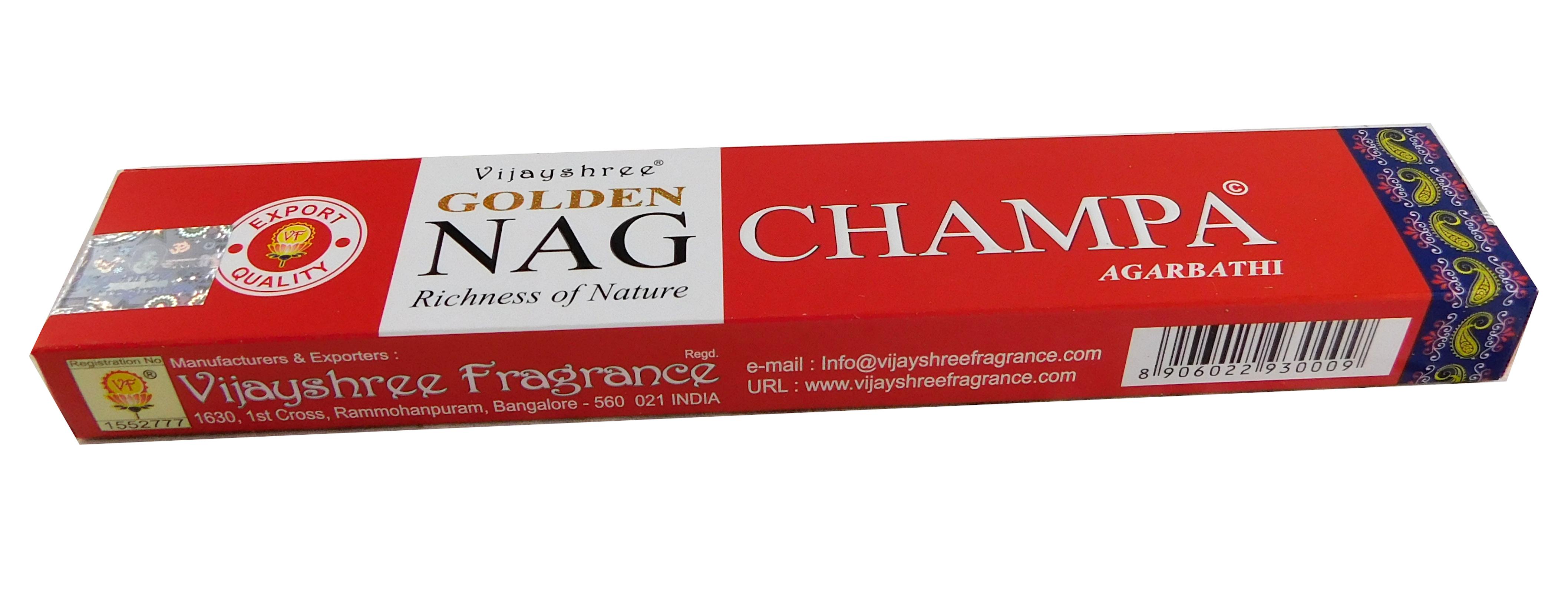 Räucherstäbchen Golden Nag Champa von Vijayshree 15g Packung. Ca. 15 Incence Sticks
