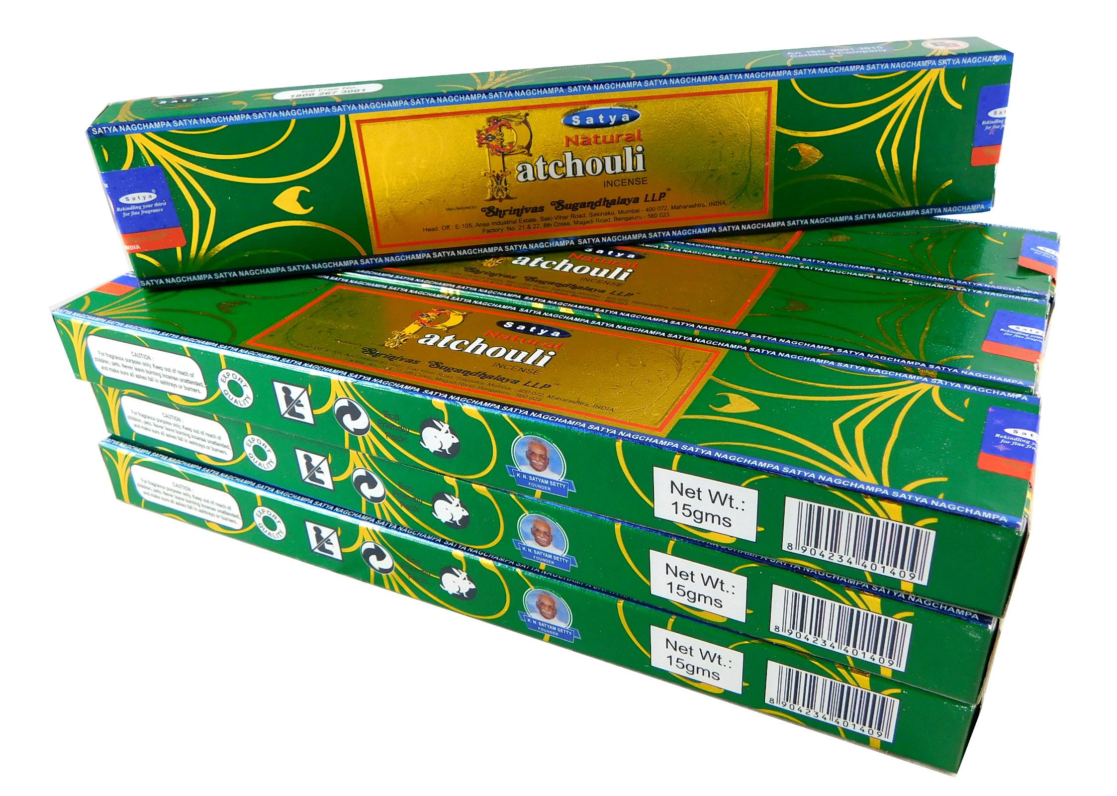 Satya Räucherstäbchen Natural Patchouli 12 Packs a 15g