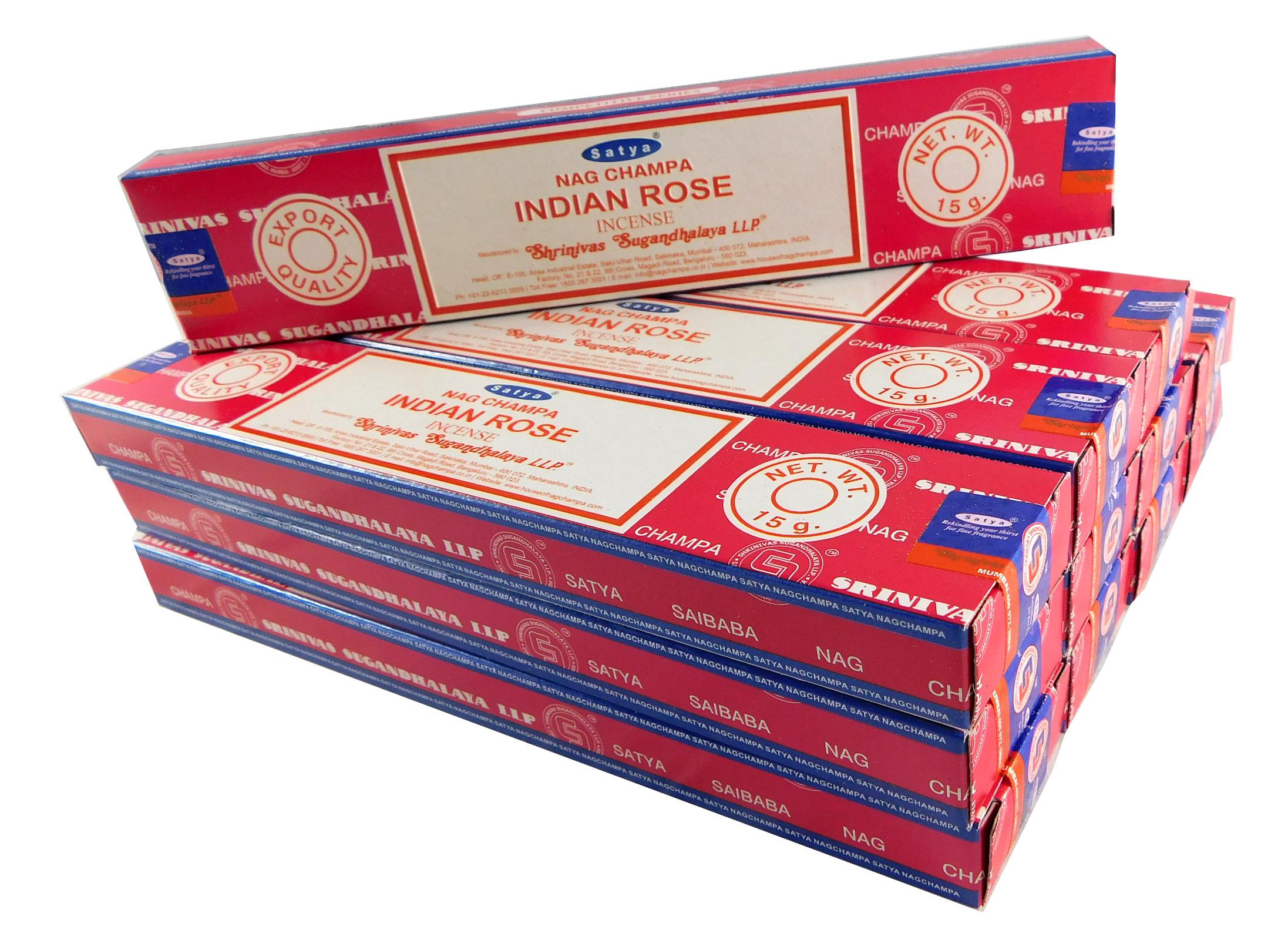 Satya Räucherstäbchen Indian Rose 12 Packs a 15g