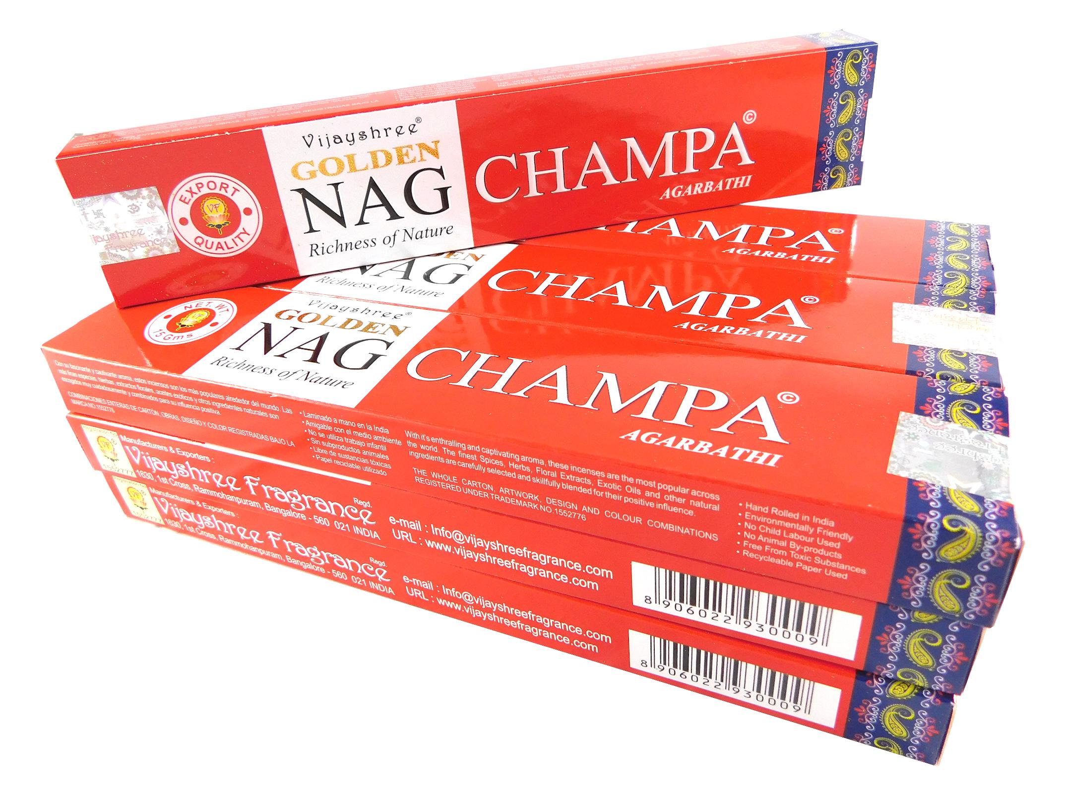 Vijayshree Räucherstäbchen Golden Nag Champa 12 Packs a 15g