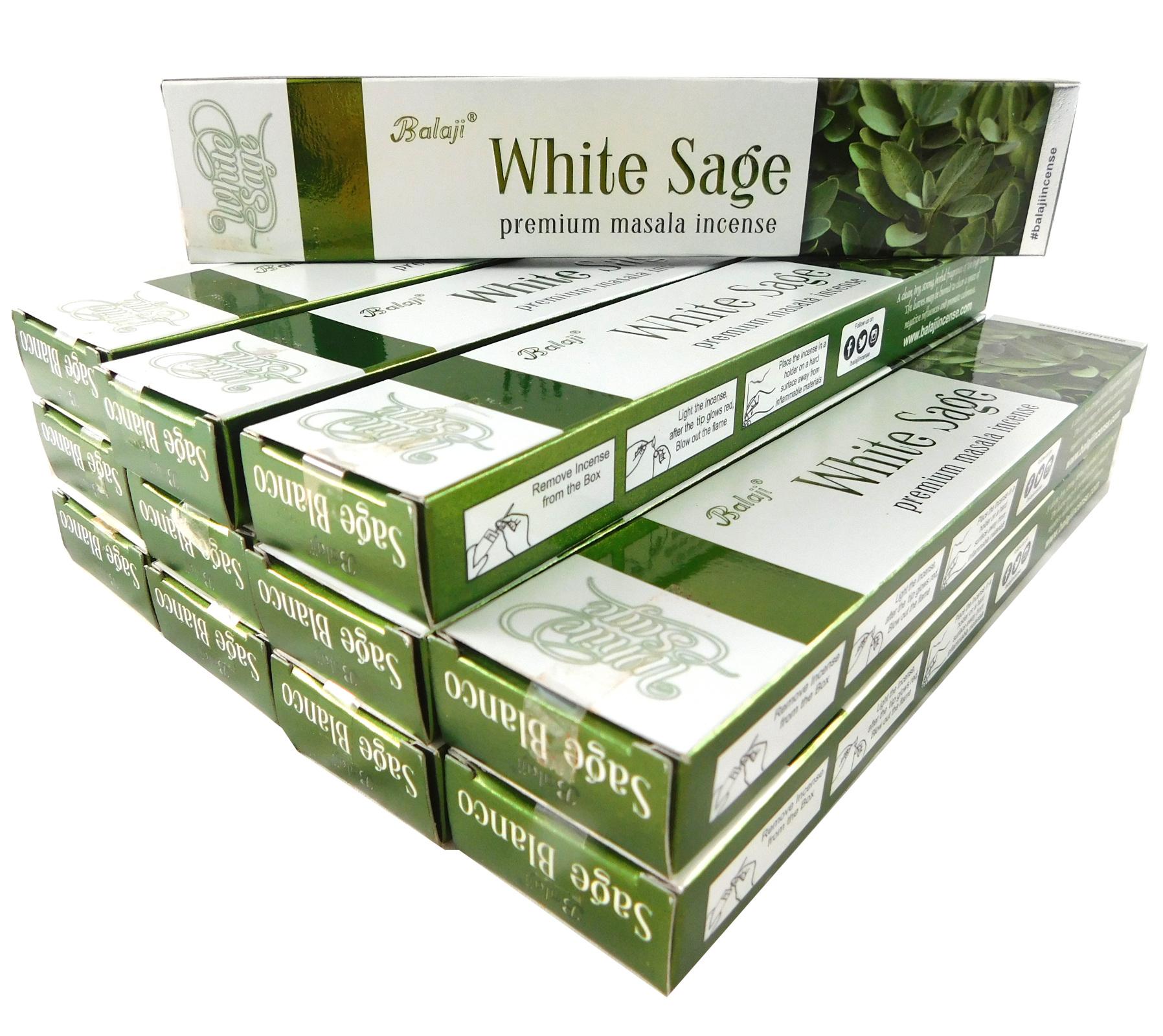 Räucherstäbchen Balaji White Sage Big Pack 12 Packungen a 15g. Ca. 180 Incence Sticks