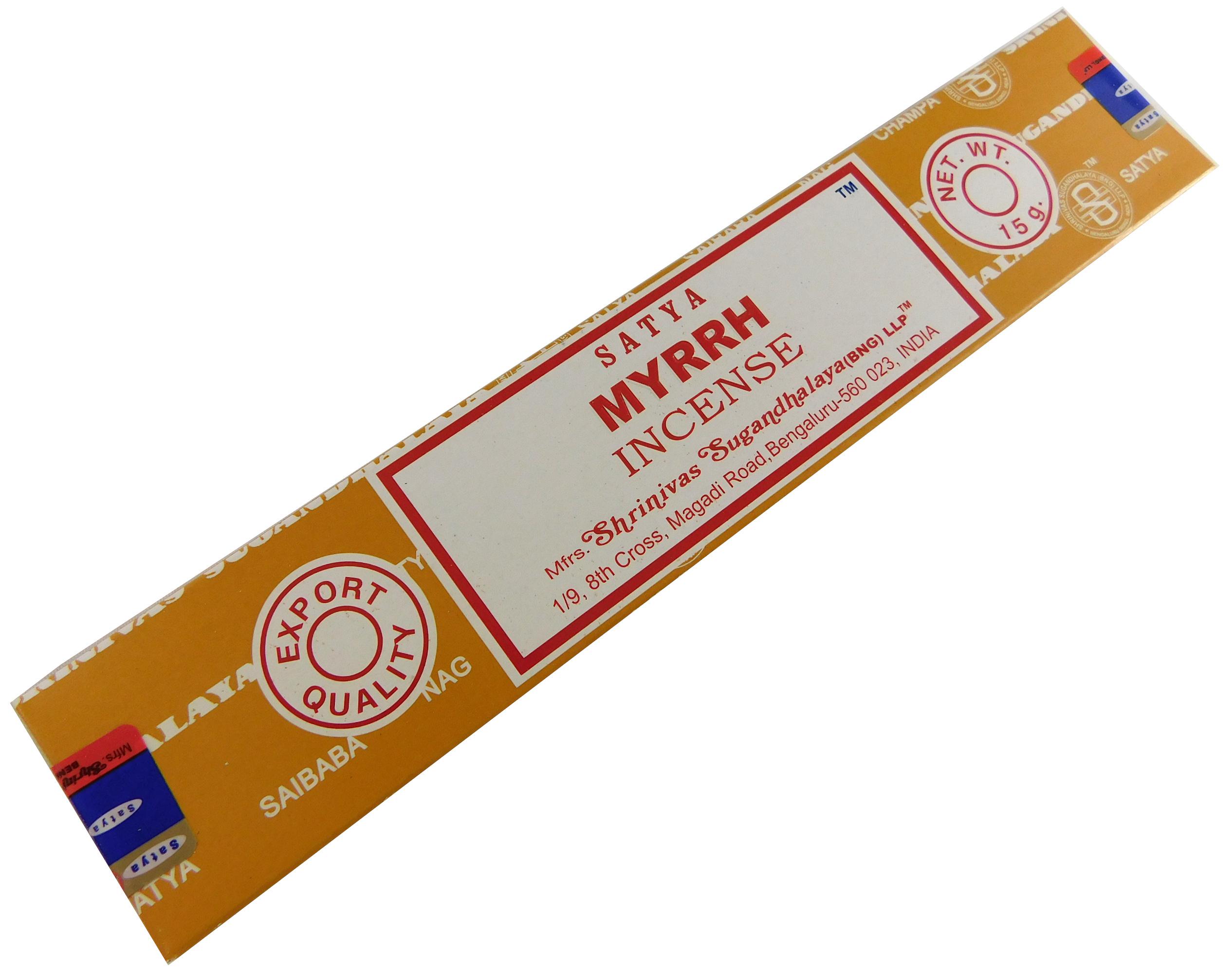 Räucherstäbchen Myrrh von Satya 15g Packung. Ca. 15 Incence Sticks