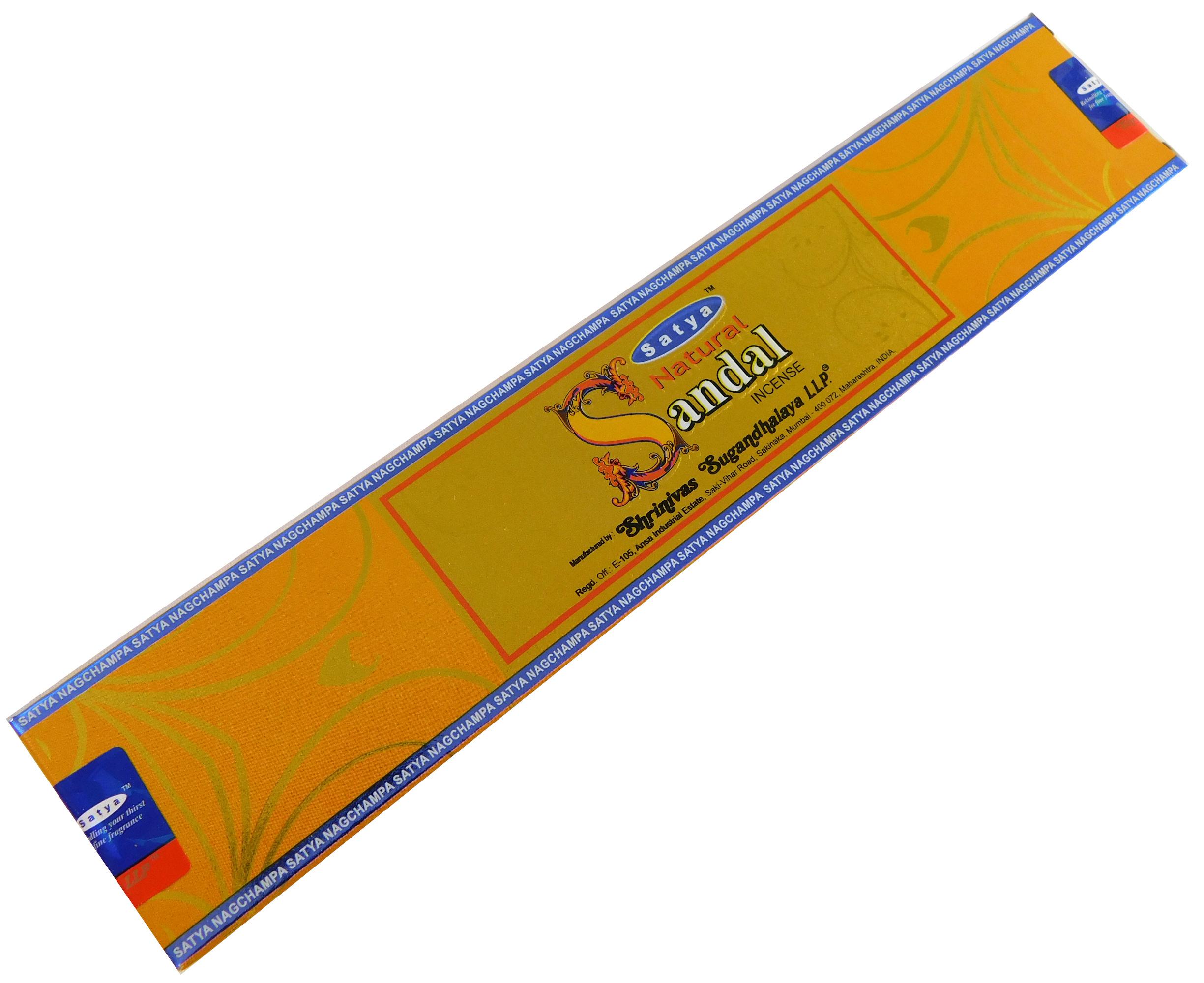 Räucherstäbchen Natural Sandal von Satya 15g Packung. Ca. 15 Incence Sticks