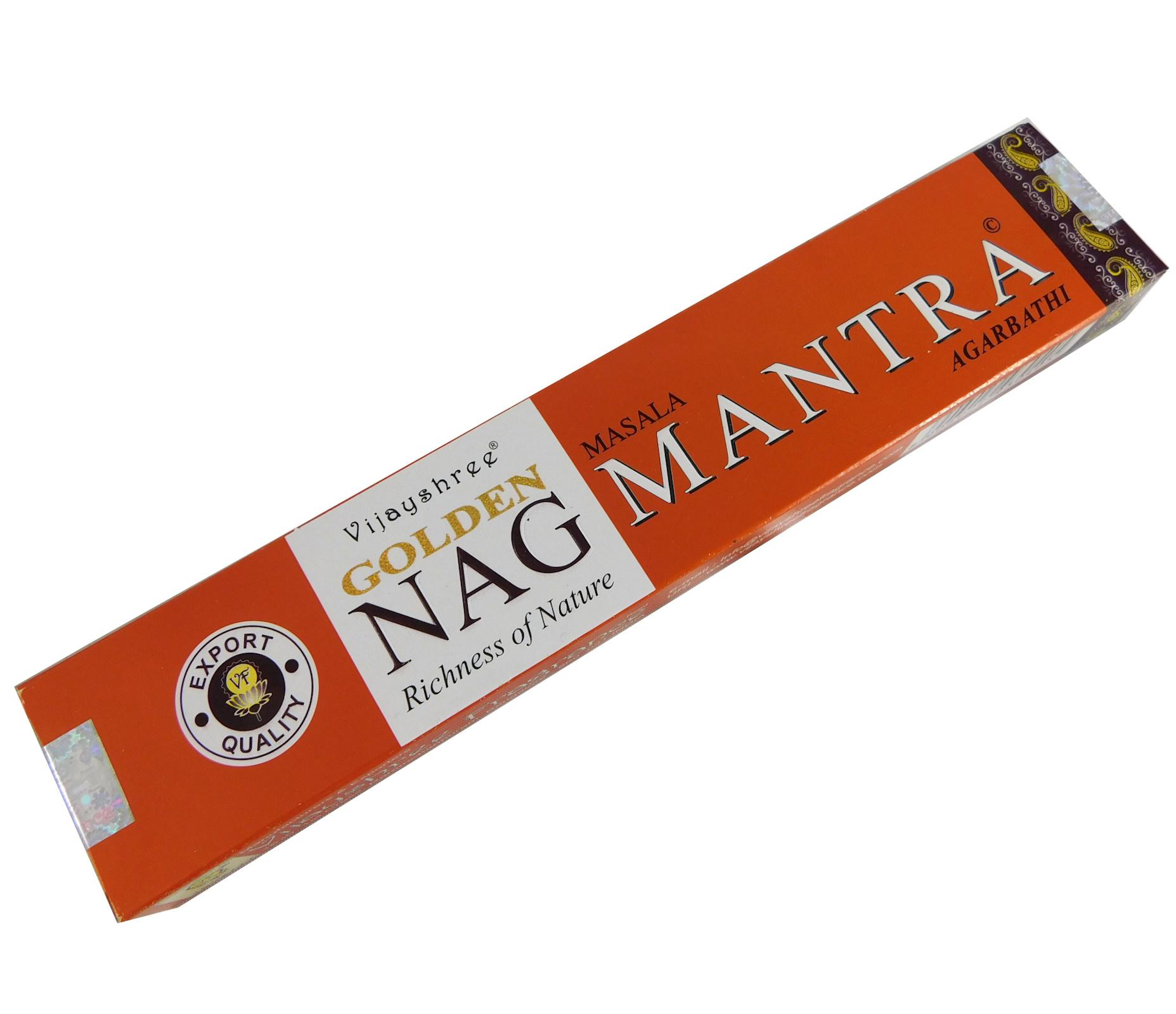 Räucherstäbchen Golden Nag Mantra von Vijayshree 15g Packung. Ca. 15 Incence Sticks