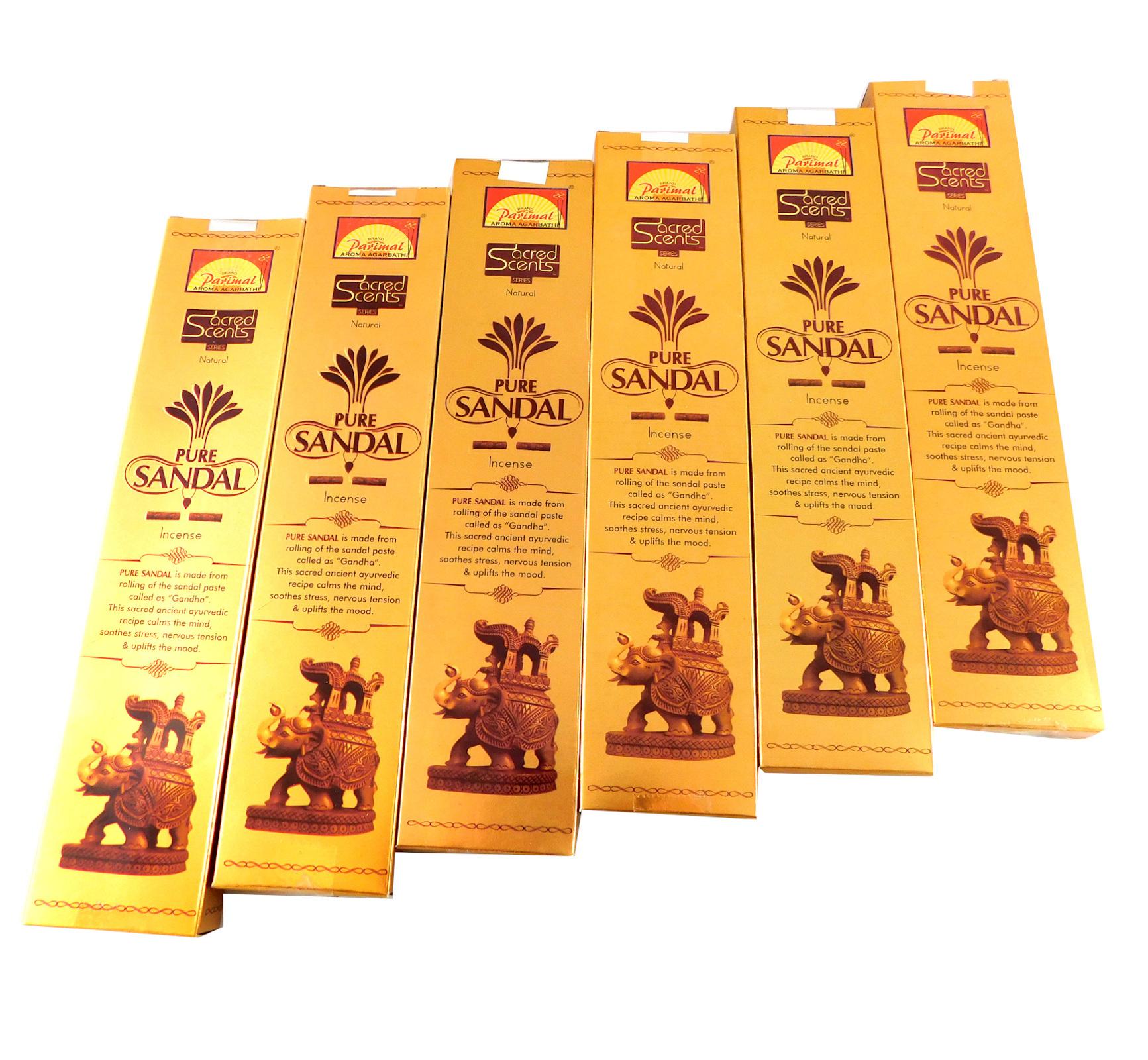 Räucherstäbchen Parimal Sacred Scents Pure Sandal Premium Masala Sticks Box mit 6 Packungen