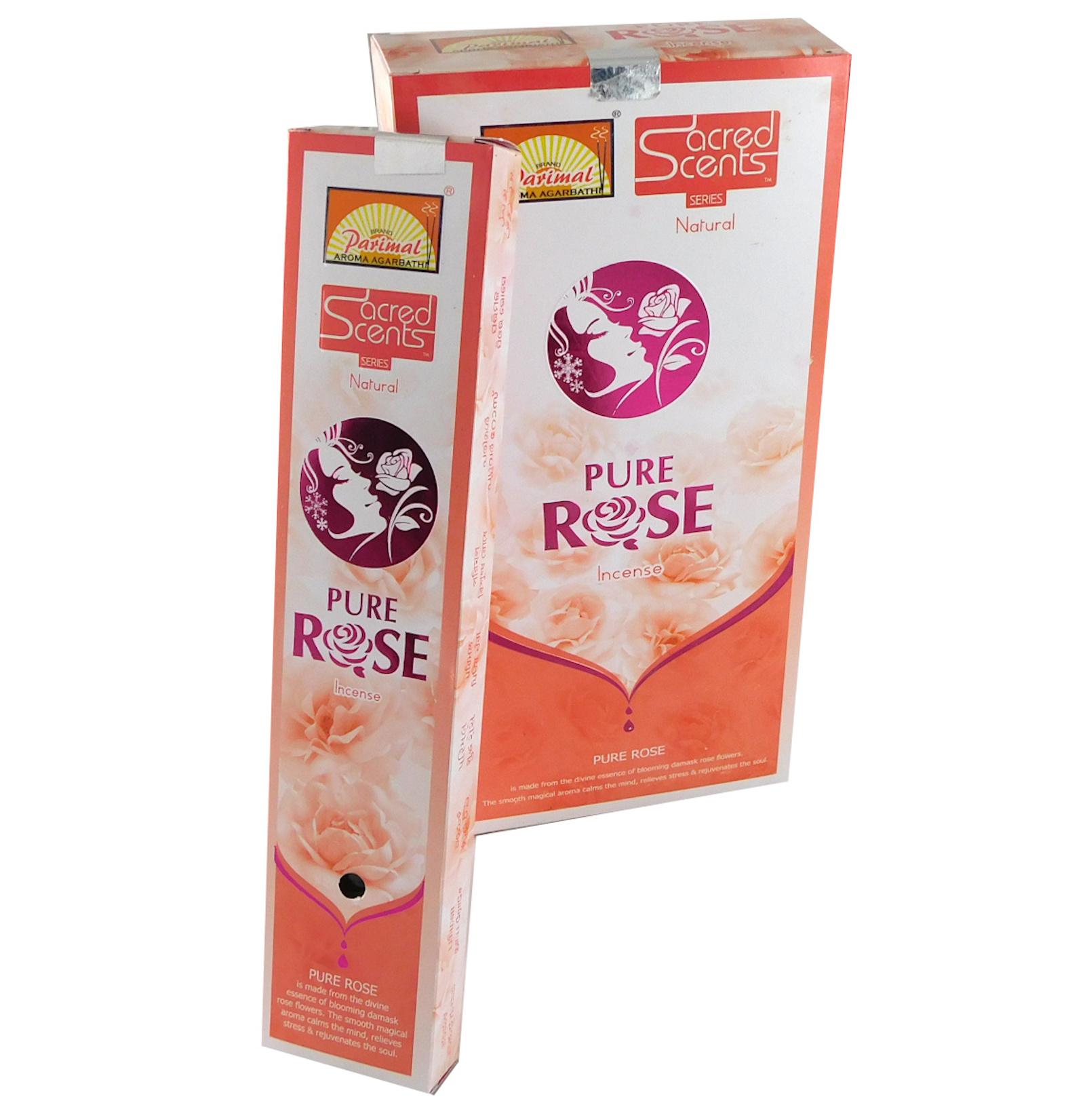 Räucherstäbchen Parimal Sacred Scents Pure Rose Premium Masala Sticks Box mit 6 Packungen