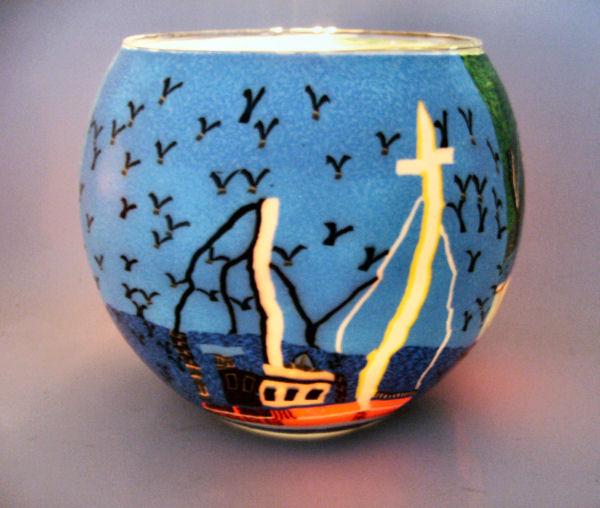 Teelichtglas Fisherboat, Höhe 9cm