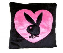 Playboy Kissen, schwarzer Bunny in pinkem Herz