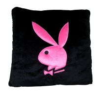 Playboy Kissen, schwarz mit pink Bunny